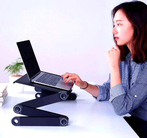 Porto® - World's first ever Fully Adjustable Ergonomic Portable Aluminum Laptop/ Tablet Desk (Mouse Pad Included)