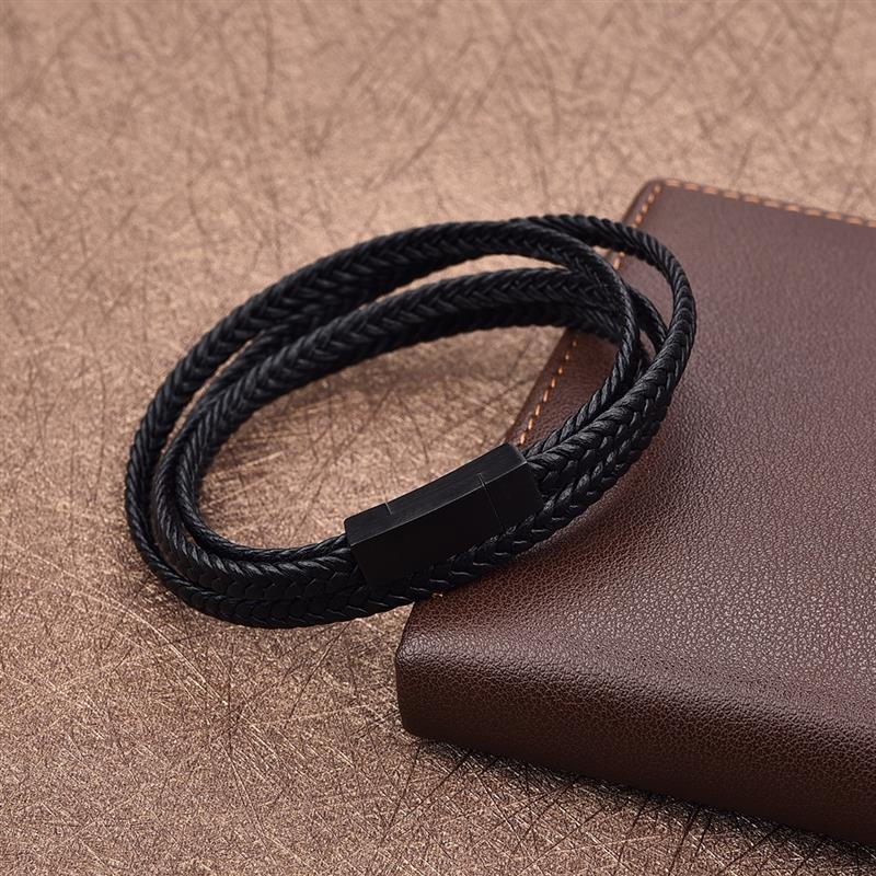Genuine Leather Bracelet Black Stainless Steel Clasp