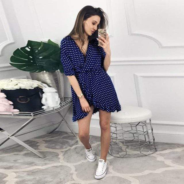 DICLOUD Official Store Dresses Navy Blue / S / China Mini Dress Polka Print Best Vegan Fashion Beauty