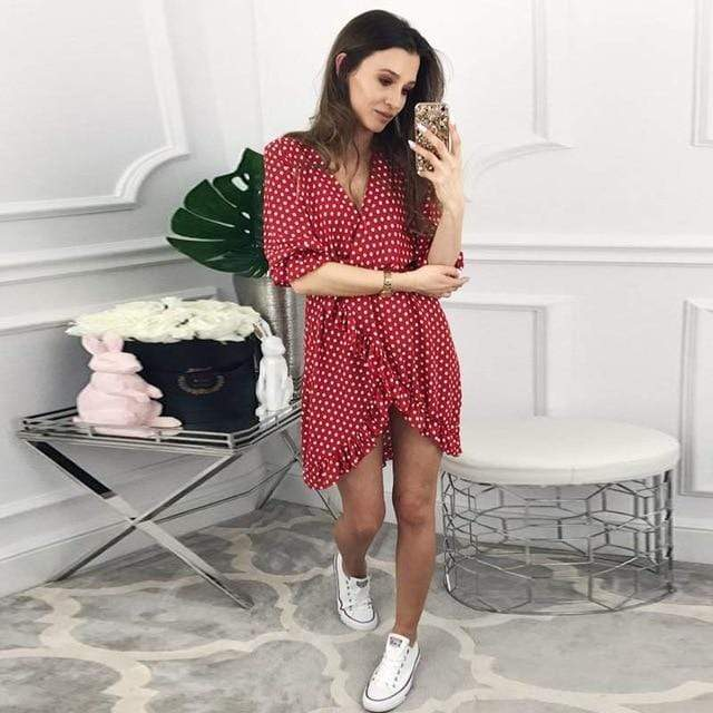 DICLOUD Official Store Dresses Red / S / China Mini Dress Polka Print Best Vegan Fashion Beauty