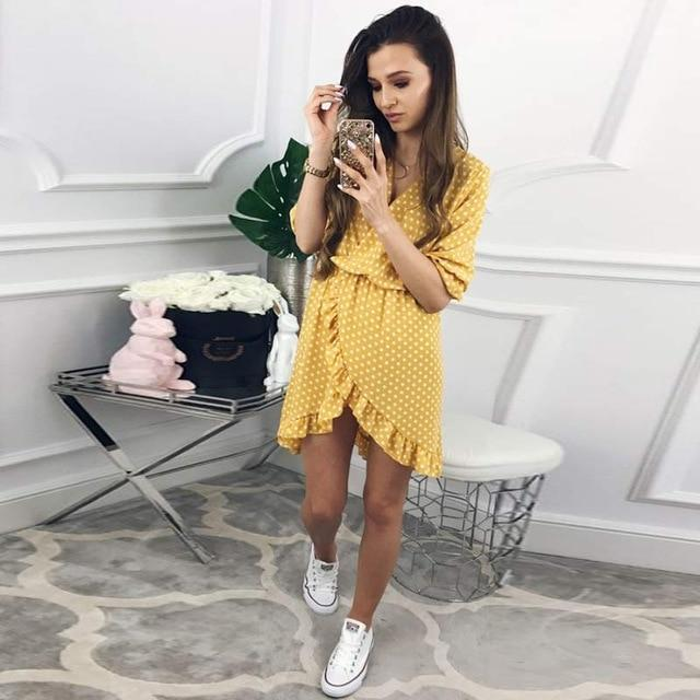 DICLOUD Official Store Dresses Yellow / S / China Mini Dress Polka Print Best Vegan Fashion Beauty