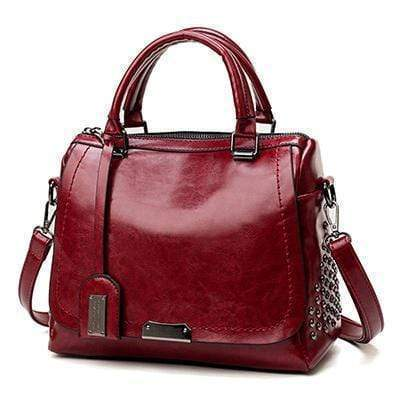 Kissbella Bold Red Women's Trapezoidal Riveted Leather Biker Bag Best Vegan Fashion Beauty