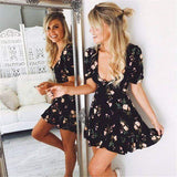 Kissbella Dresses Black / S Women's  Mini Boho Floral V neck Summer Dress Best Vegan Fashion Beauty