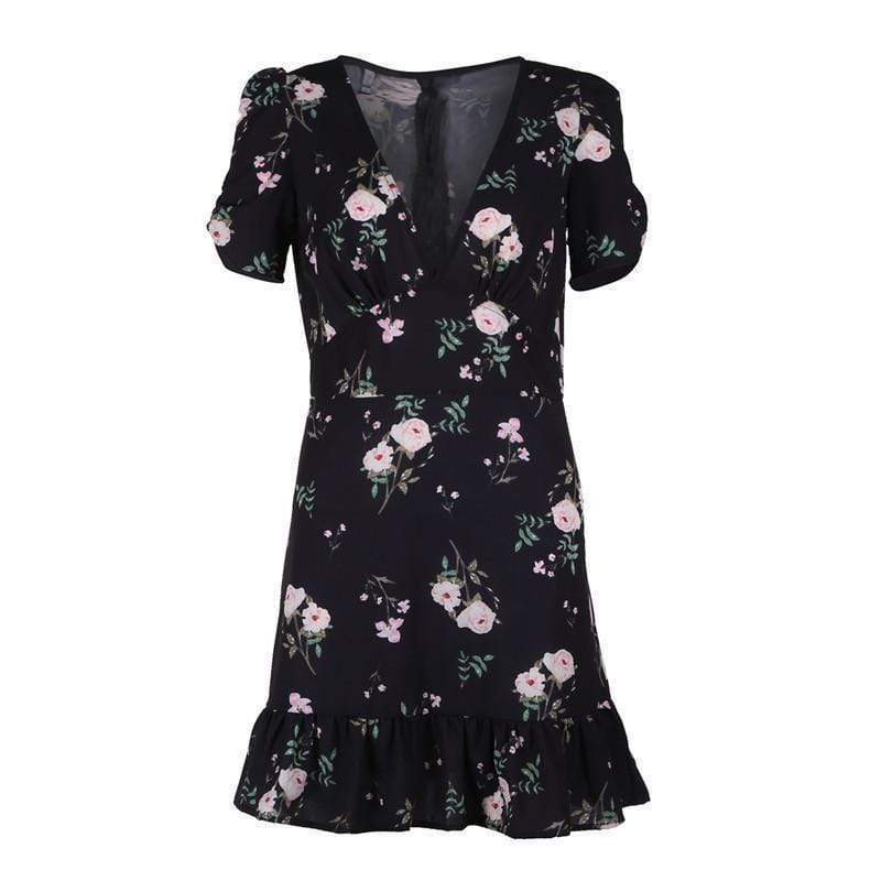 Kissbella Dresses Women's  Mini Boho Floral V neck Summer Dress Best Vegan Fashion Beauty