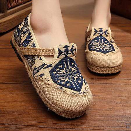 Kissbella Women's Flats Blue / 5 Embroidered Women Casual Linen Cotton Shoes Best Vegan Fashion Beauty
