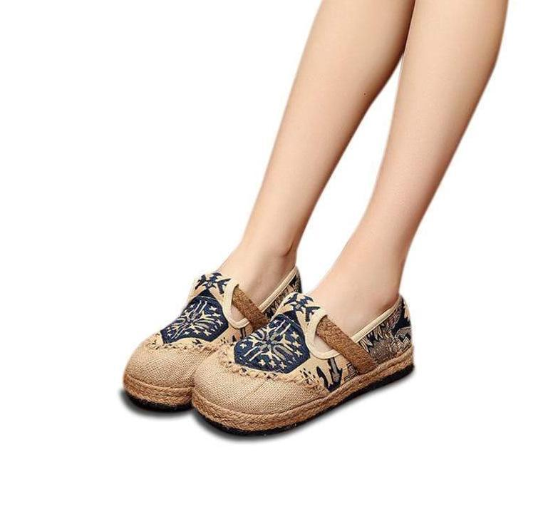 Kissbella Women's Flats Embroidered Women Casual Linen Cotton Shoes Best Vegan Fashion Beauty