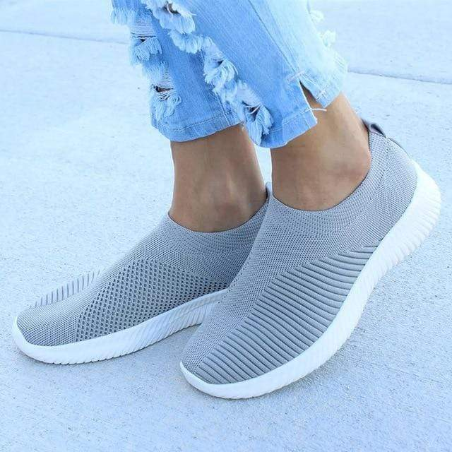 Kissbella Women's Flats Gray / 5 Women Knitted Spring Summer Orthopedic Vegan Slip On Flat Shoes Best Vegan Fashion Beauty