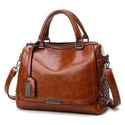 Kissbella Wood Brown Women's Trapezoidal Riveted Leather Biker Bag Best Vegan Fashion Beauty