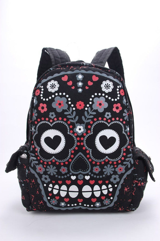 Unisex Sugar Flower Printed Skull Backpack