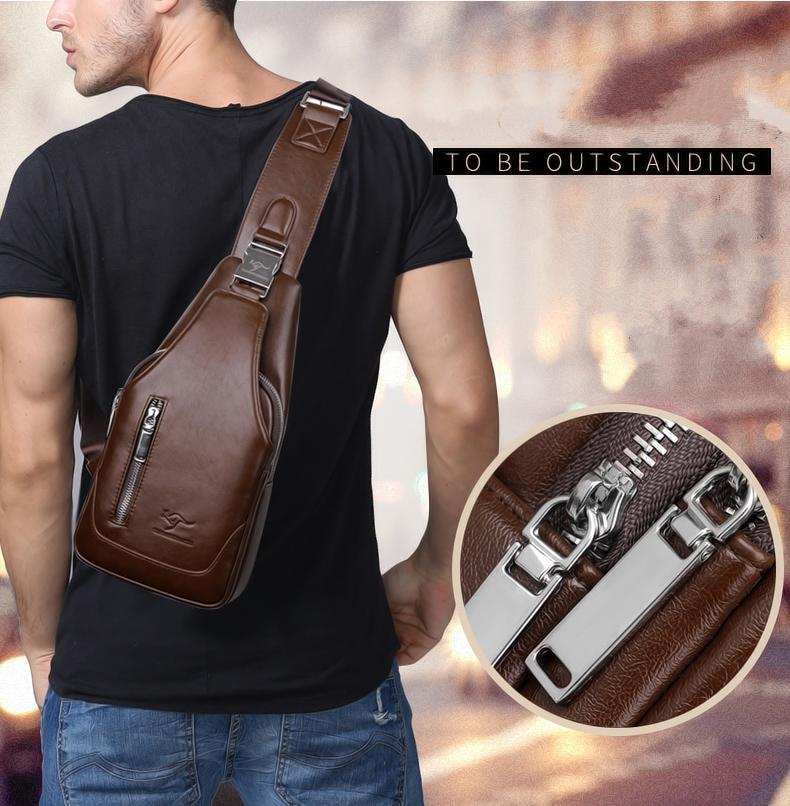 Biker Cross Shoulder Bag with USB Charging
