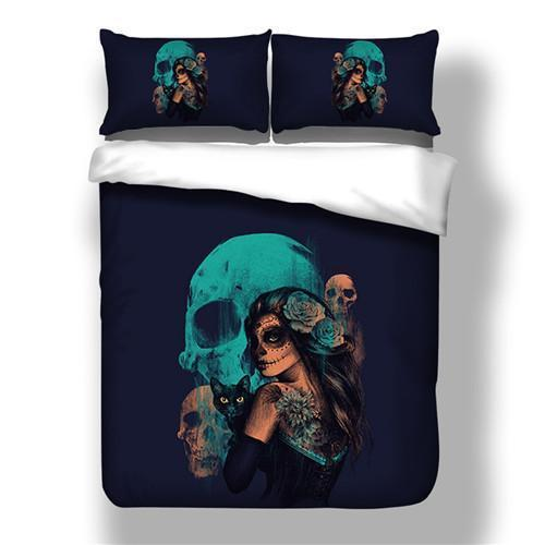 Skull And Beauty Duvet Cover Bedding Set with Pillowcases - Orelio Store
