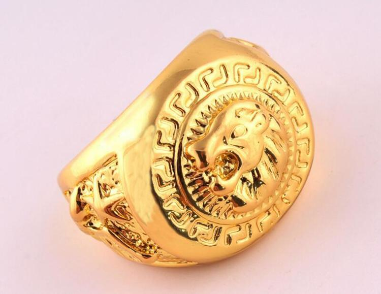 24K Gold Plated Lions Head Ring