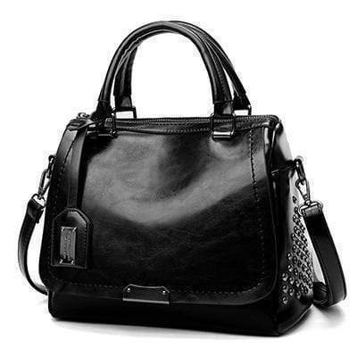 Shopjango Classic Black Women's Trapezoidal Riveted Leather Biker Bag Best Vegan Fashion Beauty
