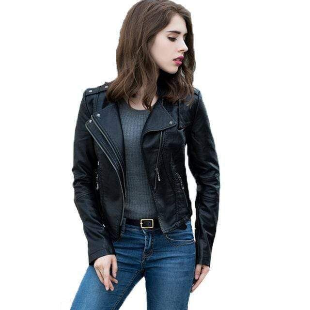 Shopjango Women's Slim Long Sleeve Short Motorcycle Biker Jacket Best Vegan Fashion Beauty