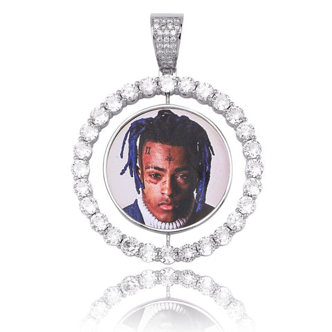 Custom Made Photo Rotating double-sided Medallions Pendant Necklace With 4mm Tennis Chain
