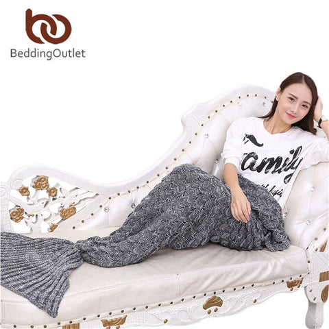 Handmade Yarn Knitted Mermaid Tail Blanket