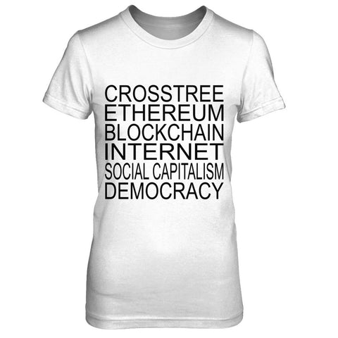 Crosstree Stack - Print on Front in Black - Female T-Shirt - Crosstree