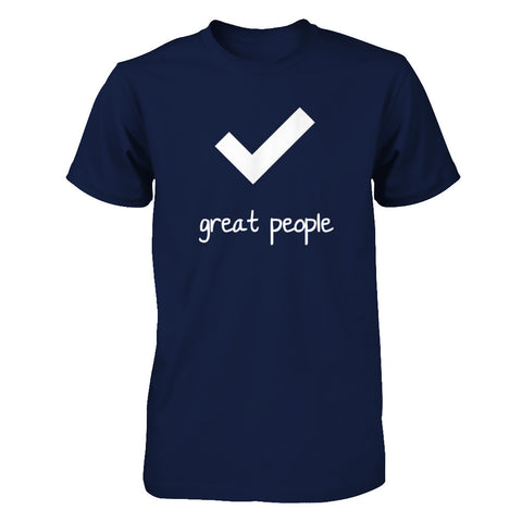 Check, great people - Print on Front in White - Male T-Shirt - Crosstree