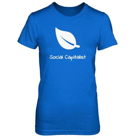 Leaf, Social Capitalist - Print on Front in White - Female T-Shirt - Crosstree