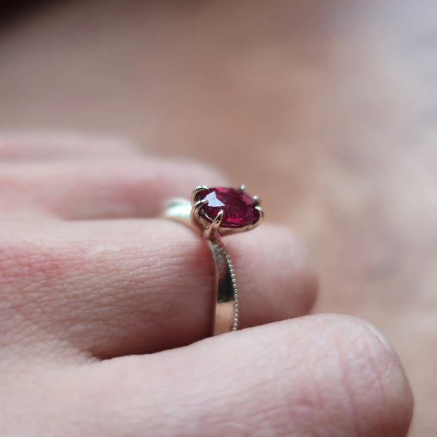 Pink Tourmaline Tapered Solitaire Ring in 14K Yellow Gold
