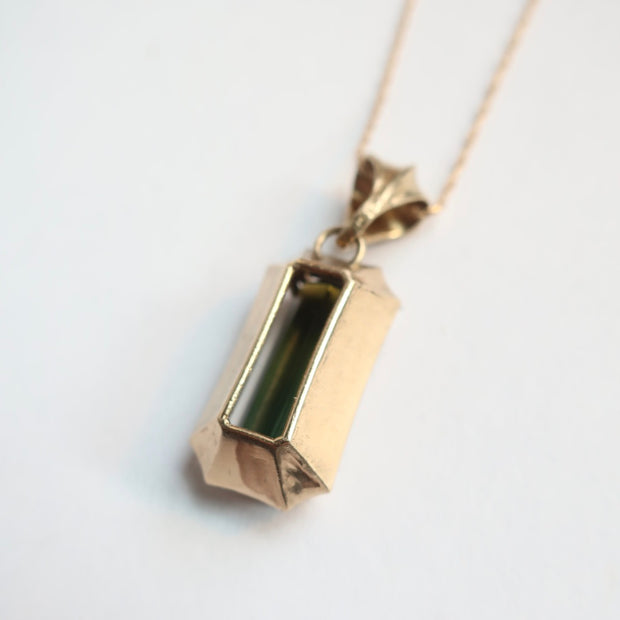 Green Tourmaline 14k Gold Pendant