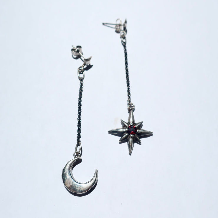 Moon and Star Earring Set