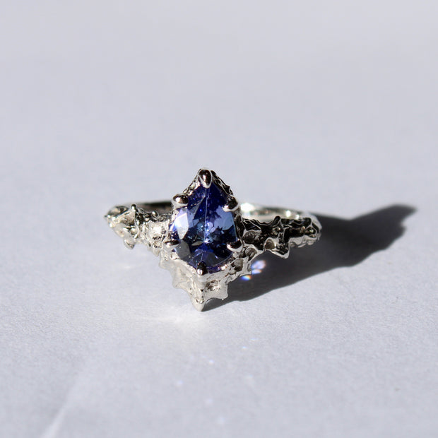 Mermaid Tanzanite and White Gold Diamond Ring