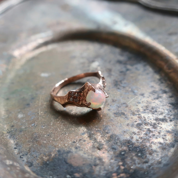 Opal Rose Gold Serac and Diamond Ring