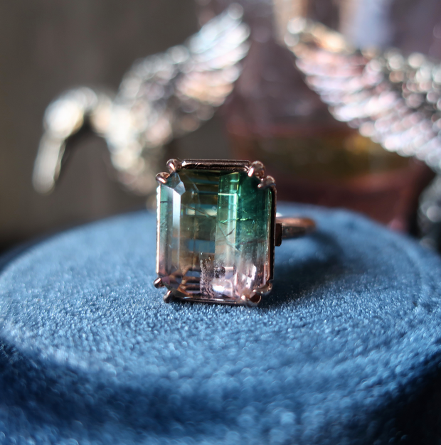 Art Deco Watermelon Tourmaline Ring