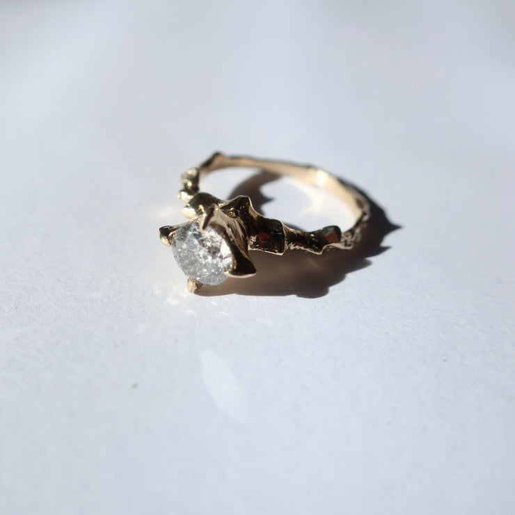 Salt and Pepper 14k gold Diamond Hecate Ring