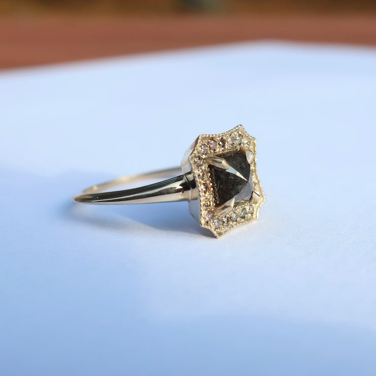 Yellow gold Black Diamond and Champagne Halo Ring