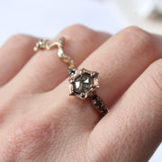 14 Karat Rose Gold Hexagon Diamond Ring