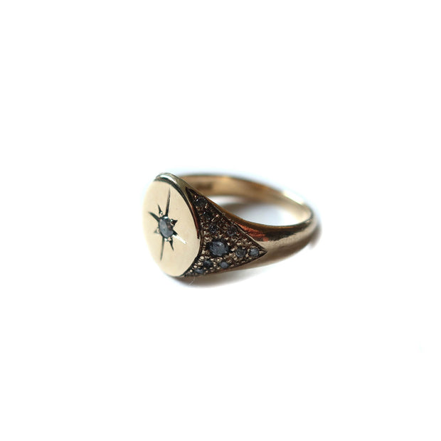 Compass Signet Diamond Ring