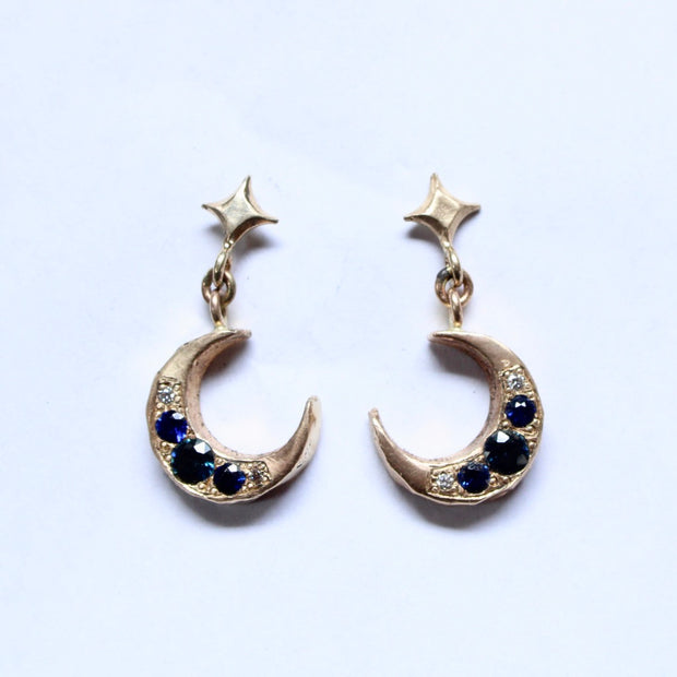 14k Yellow Gold Jeweled Night Studs