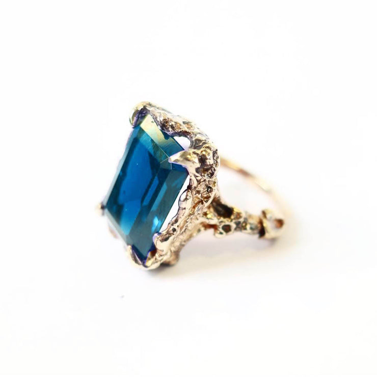 Gold London Blue Topaz Cocktail Ring