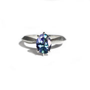 Mermaid Tanzanite Tapered Solitaire Ring in 14K White Gold