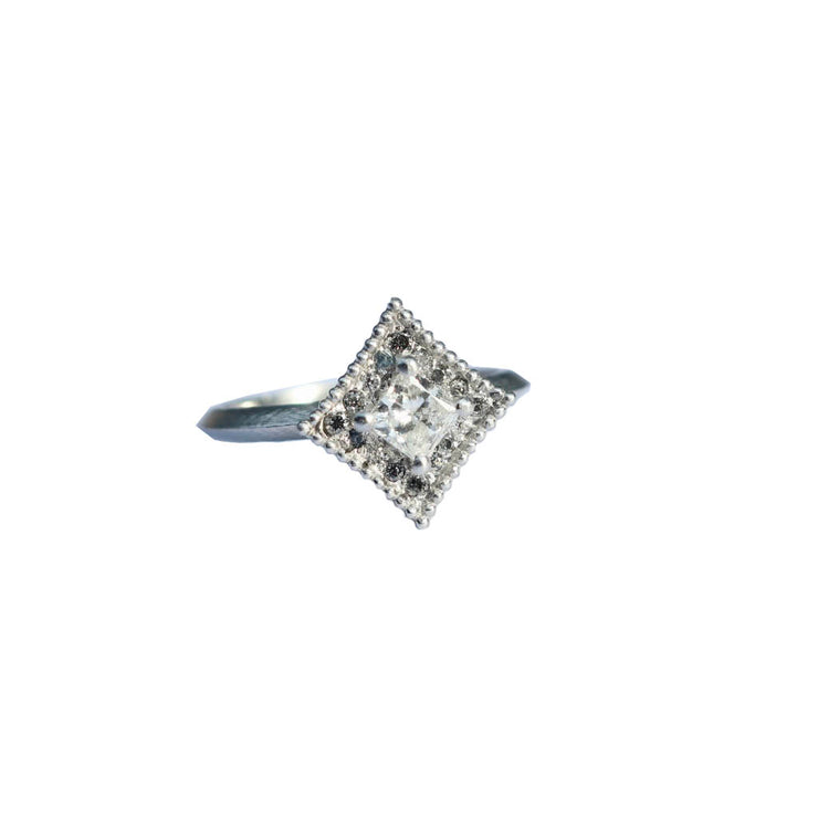 Princess Cut Diamond and White Gold Ring