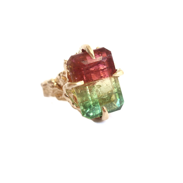 Tri Color Tourmaline Ring