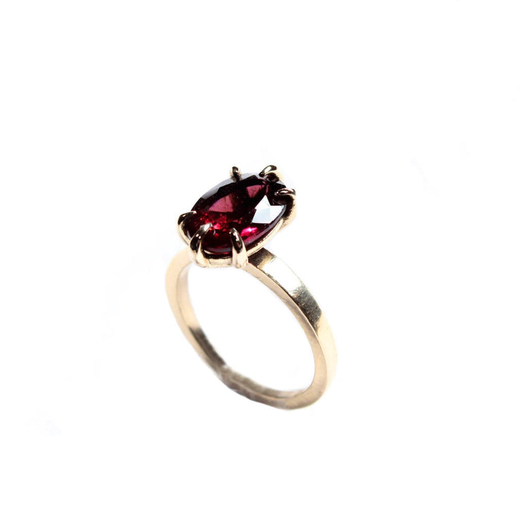 Raspberry Oval Rubellite Pink Tourmaline Ring in 14 Karat Yellow Gold