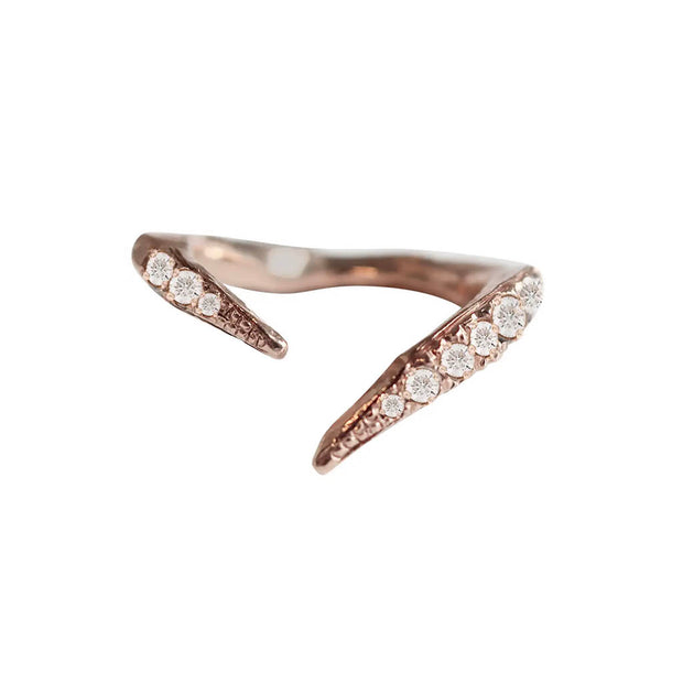 18 Karat Rose Gold Split Ring Band with Diamonds
