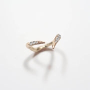 18 Karat Gold Split Ring Band with Diamonds