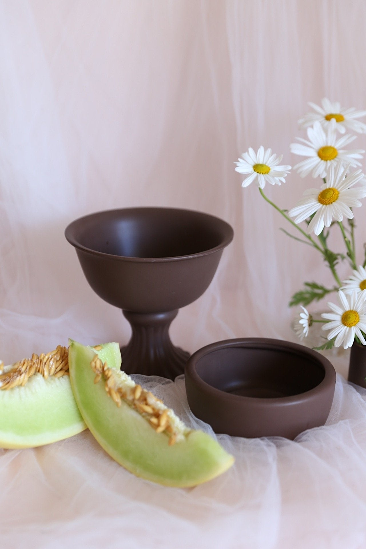 Oh Flora Store | brown compote bowl and ceramic low bowl