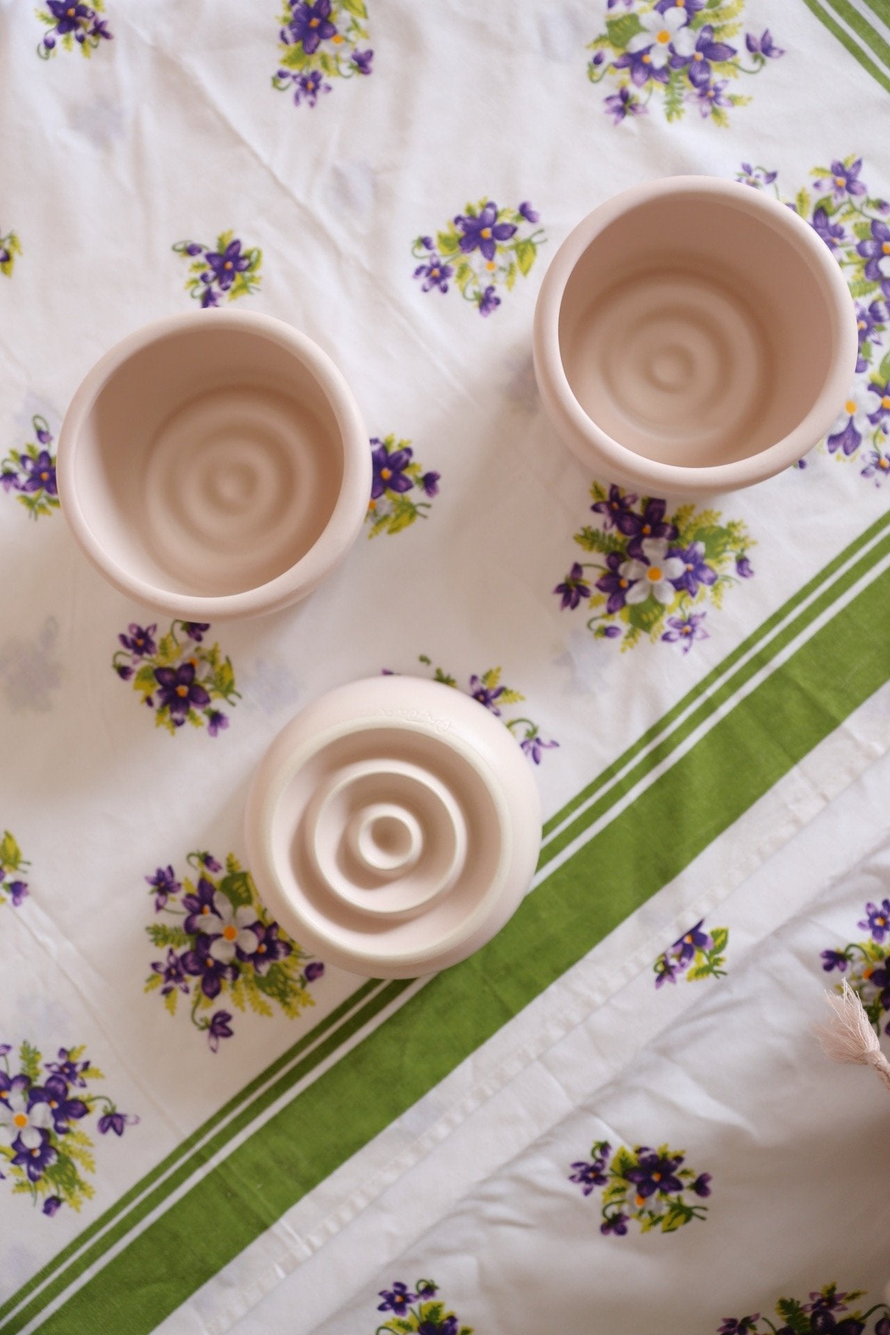 Oh Flora Store | blush round ceramic bowls with vintage table cloth