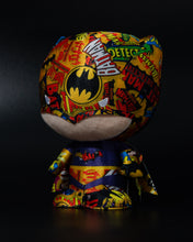 "Load image into Gallery viewer, Batman plush toy printed in colorful Batman logos, 7"" Maxx Shop gifting"