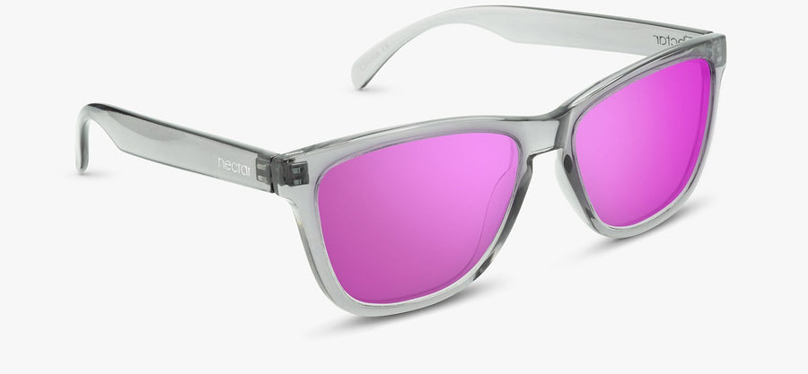 Transparent Grey Frame - Pink Lens
