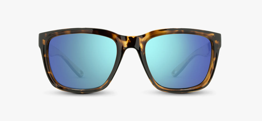 Brown Tortoise Frame - Blue Lens