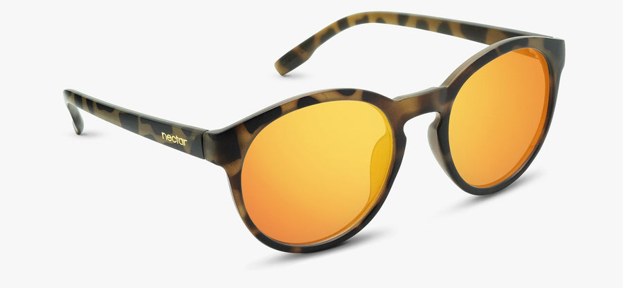Brown Tortoise Frame - Orange Mirror Lens