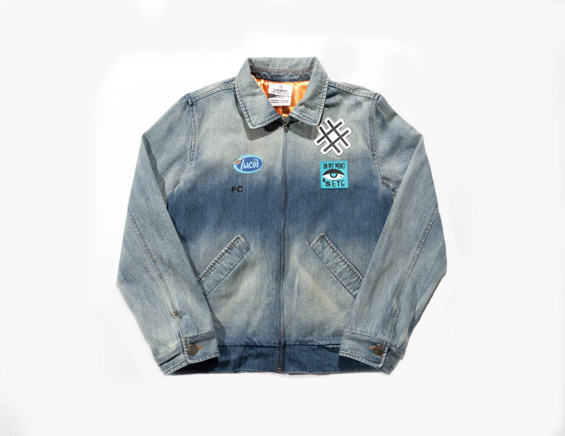 Denim Zip Up Work Jacket in stone wash