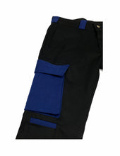 Load image into Gallery viewer, Brushed Twill Cargos in black/royal blue