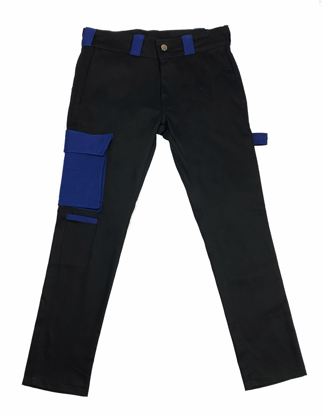 Brushed Twill Cargos in black/royal blue